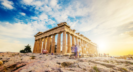 Photo sur Aluminium Athenes Panoramic view of the Parthenon at sunset, Acropolis, Athens