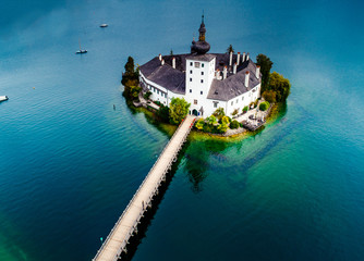 Aerial view of Gmunden Schloss with Traunsee lake in Austria