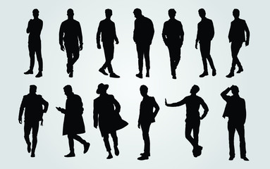 Silhouettes of Casual People in a Row. man silhouette vector