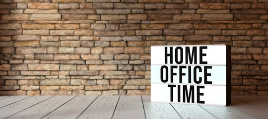 Door stickers London lightbox with text HOME OFFICE TIME in front of a brick wall