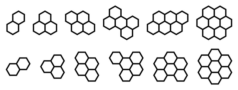 Set of shapes made from hexagonal or honeycomb six sided polygon