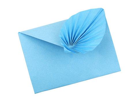 Blue craft paper envelope wuth draped element