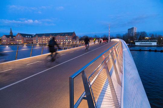 New pedestrian and bicycle bridge in Copenhagen. Evening light