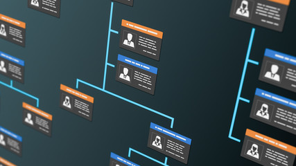 company organization chart with employee badges (3d render)