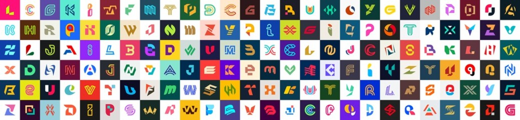 Abstract logos collection with letters. Geometric abstract logos