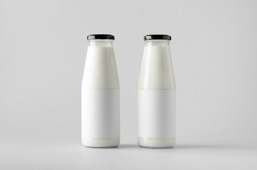 Milk Bottle Mock-Up - Two Bottles. Blank Label