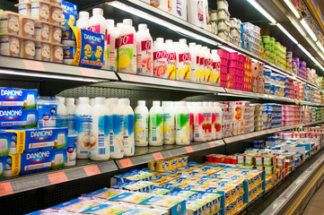 VALENCIA, SPAIN- JULY 04, 2015: Stall milk in Supermarket Mercadona is largest supermarket chain in Spain. It founded in January 01, 1977