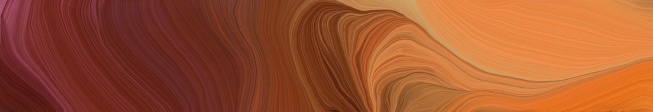 wide colored banner background with saddle brown, peru and coffee color. contemporary waves design
