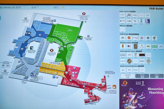 HONG KONG, CHINA - CIRCA JANUARY, 2019: a floor plan seen in Elements shopping mall.