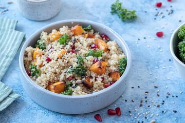 Fall Kale, Butternut Squash Pumpkin, Pomegranate and Quinoa Salad