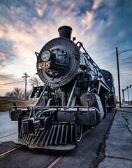 Antique blue locomotive on track