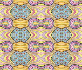 Modèle sans couture éclectique abstrait dessiné à la main. Couleurs douces, design textile, papier d& 39 emballage ou couverture dans des tons pastel - jaune, bleu, rose