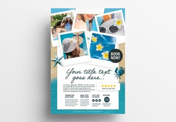 Flyer Layout with Beach Illustration Elements
