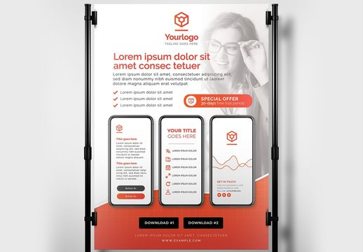 Bright Red and White Poster Layout with Smartphone Illustrations