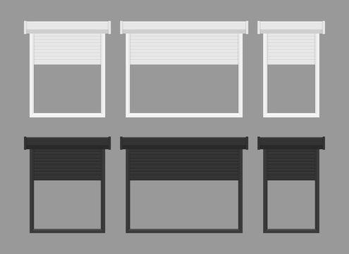 Windows roller shutters vector illustration isolated