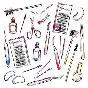 set of professional tools for eyelashes