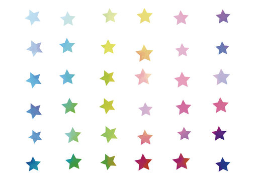 Set of stars painted in watercolor