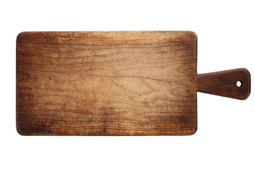 Cutting board. Old, vintage, wooden, chopping board isolated on white background. Wall mural