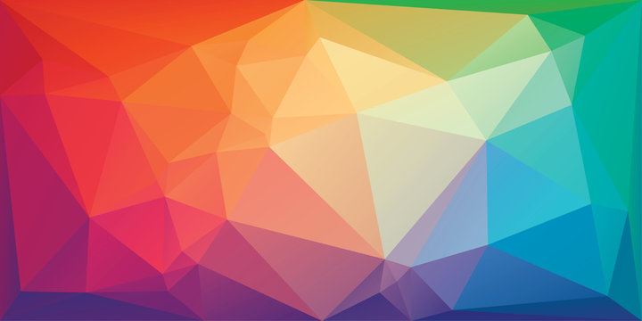 Low poly background with irregular triangles in rainbow colors. Bright colorful polygonal banner template. Multicolor triangular backdrop in origami style. Vector eps8 illustration.