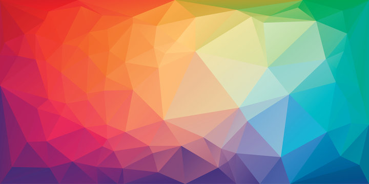 Low poly triangular background in bright rainbow colors. Colorful polygonal banner template. Multicolor backdrop in origami style. Vector eps8 illustration with irregular triangles.