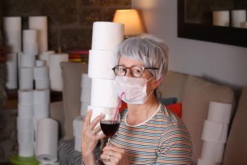 Senior woman in quarantine at home