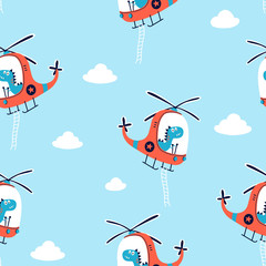 Hand drawing helicopter and cute dinosaur  pattern vector illustration.