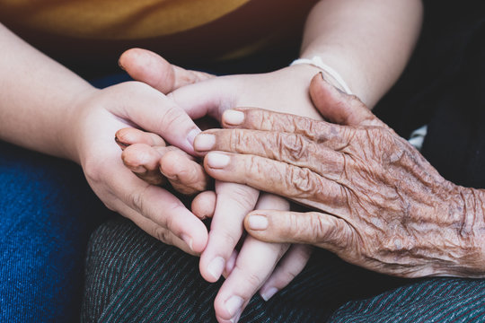 Young grandchildren's holding older grandmother hands feel with support together, wrinkled skin with feeling take care. World Kindness Day, Adult day center Relationship of Family mother day concept