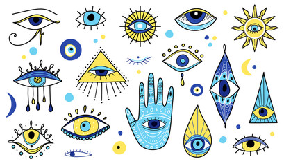 Evil eyes icon set, various talismans in hand drawn style.