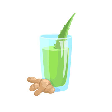 Refreshing drink based on aloe vera and ginger vector icon.