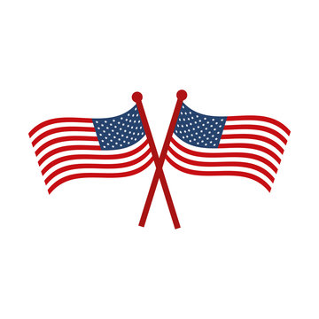 memorial day crossed flags national american celebration flat style icon
