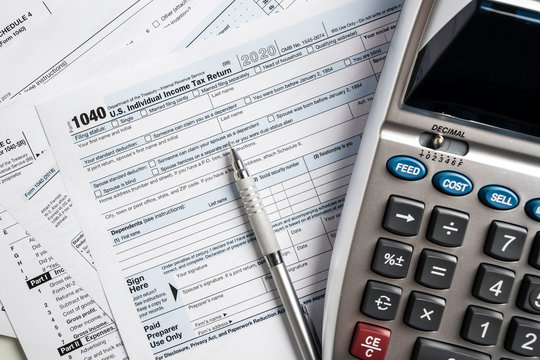 United States tax forms with calculator