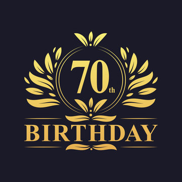 Luxury 70th Birthday Logo, 70 years celebration.