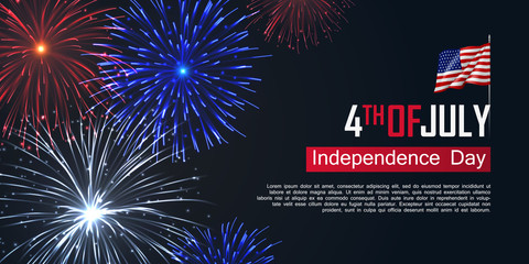 Fototapeta Fourth of July happy independence day horizontal banner. USA day celebration flyer with realistic dazzling display of fireworks. National patriotic and political holiday poster vector illustration. obraz