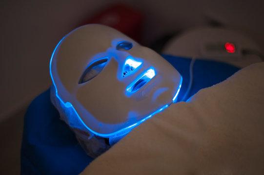 Blue led mask for facial rejuvenation