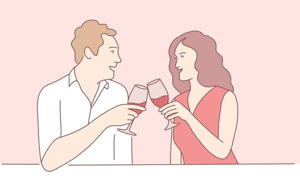 Hand drawn vector illustration of couple drinking wine.