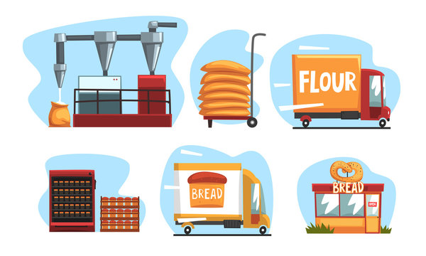 Production of Bread Set, Industrial Wheat Processing Vector Illustration on White Background