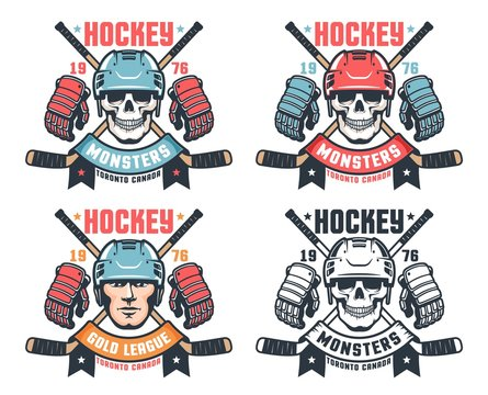 Hockey skull vintage logo with crossed sticks and ribbon. Retro sport emblem with hockey player face. Vector illustration.