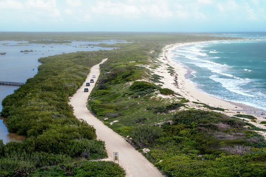 Punta Sur National Park in Cozumel, Mexico. View from the lighthouse. Caravan style drive. Misty and foggy weather. Many jeeps are on a tour of the national park.