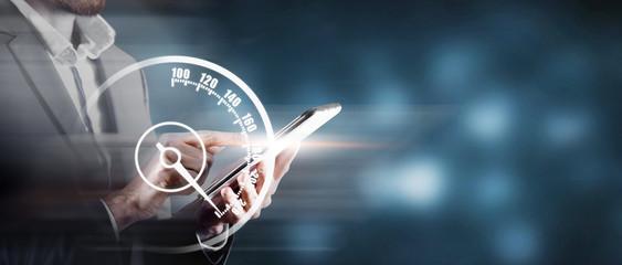sharp acceleration of internet speed. Fototapete