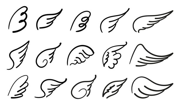 Wings birds and angel. Cartoon doodle bird tattoo wing icon. Feather sketch handdrawn collection