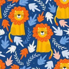 Door stickers Bestsellers Kids Lions, leaves, hand drawn backdrop. Colorful seamless pattern with animals. Decorative cute wallpaper, good for printing. Overlapping background vector. Design illustration