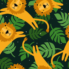 Door stickers Bestsellers Kids Lions, palm leaves, hand drawn backdrop. Colorful seamless pattern with animals. Decorative cute wallpaper, good for printing. Overlapping background vector. Design illustration