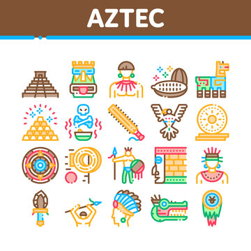 Aztec Civilization Collection Icons Set Vector. Aztec Antique Pyramid And Gold, Bird And Animal, Cozcacuauhtli And Mystic Totem Concept Linear Pictograms. Color Contour Illustrations