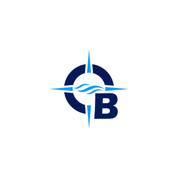 Letter B and compass arrow flat logo icon isolated on white background