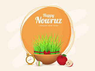 Illustration of Sabzeh (Grass) Bowl with Apples, Egg and Alarm Clock on Brown Background for Happy Nowruz, Persian New Year Celebration.