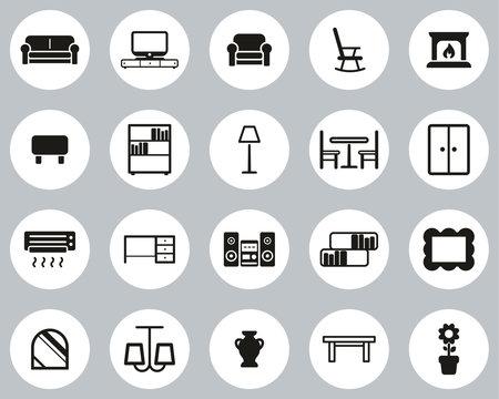 Living Room Furniture Icons Black & White Flat Design Circle Set Big