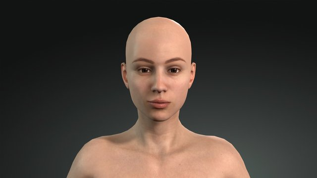 3d female model. Female model face without makeup. 3d human face without hair.