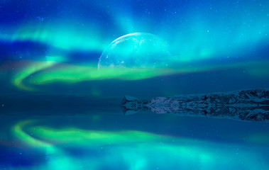 Wall Mural - Northern lights (Aurora borealis) in the sky with super full moon - Tromso,   Norway