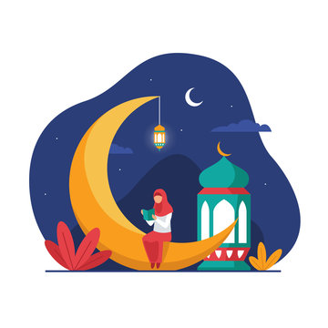 Muslim hijab girl sitting on the crescent moon object while reading holy book quran to fill night ramadan activity vector flat illustration and islamic landscape background