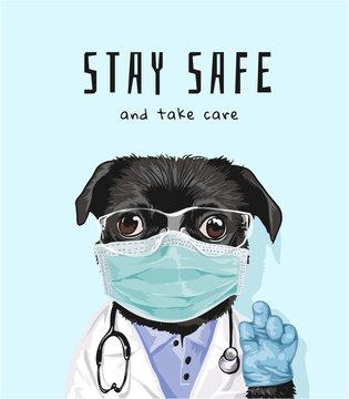 Stay Safe Slogan with Black Dog in Medical Mask Illustration
